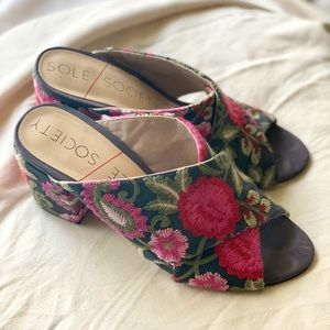 Sole Society Floral Mules